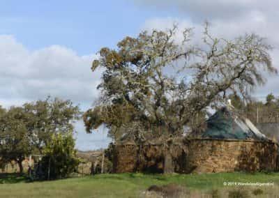 Traditionele herdershut Algarve, opslag hooi en stro