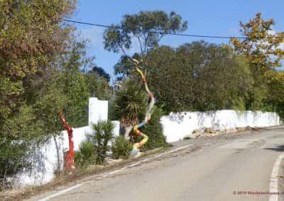 Beschilderde bomen langs Caminho de Água OLH PR4