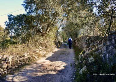 Onverhard pad bij Goldra met wandelaar