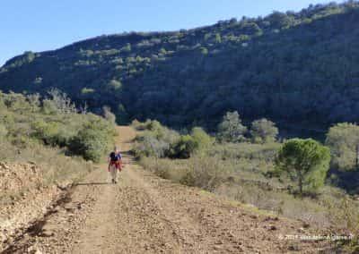 Wandelaar op onverhard pad in groen heuvellandschap onder blauwe hemel