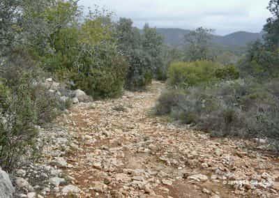 Langs een steil stenig pad voert route Amendoeira de wandelaar naar de rivier