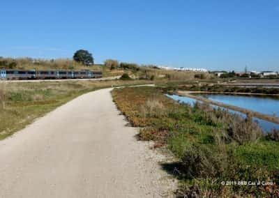 Zoutpannen, trein Linha do Algarve, Wandelroute