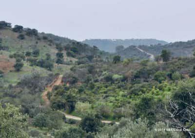 Pad door de vallei achter Santa Catarina da Fonte do Bispo richting Alquevinhos