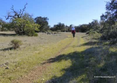 Wandelaar op heuvelweide van rondwandeling Soalheira