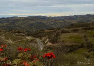 Uitzicht over de heuvels en de IC27 op wandeling CTM PR7