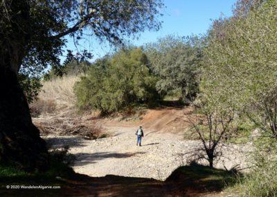 Wandelaar steekt de rivierbedding van de Algibre over op rondwandeling LLE PR14